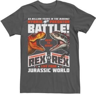 Victoria's Secret Licensed Character Men's Jurassic World T-Rex I-Rex Battle Poster Graphic Tee