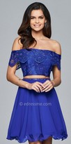 Faviana Off the Shoulder Rhinestone Embellished Lace Up Back Two Piece Cocktail Dress