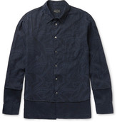 Giorgio Armani Slim-fit Layered Cotton-jacquard And Linen Shirt
