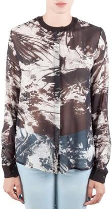 Preen by Thornton Bregazzi Blackbirds Printed Silk Long Sleeve High Low Blouse M