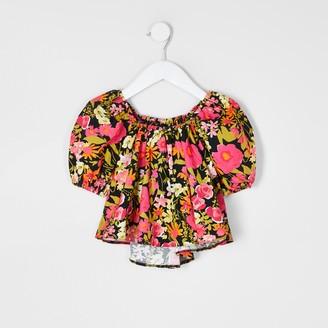 River Island Mini girls Black floral puff sleeve top