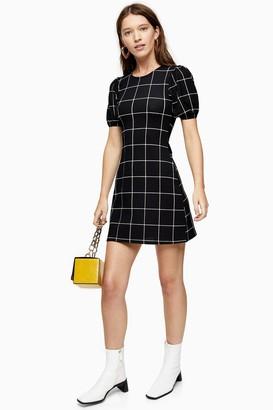 Topshop Black and White Check Crinkle Puff Sleeve Mini Dress
