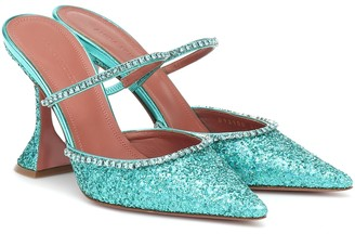 Amina Muaddi Gilda embellished glitter mules