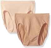 Ellen Tracy Women's Dot Jacquard Hi Cut Panty 2 Pack