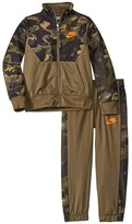 Nike Textured Camo Full Zip Jacket and Pants Two-Piece Track Set (Little Kids) (Medium Olive) Boy's Active Sets