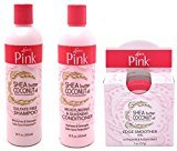 Victoria's Secret Luster's Pink Shea Butter and Coconut Oil Haircare Set ( Shampoo 12 oz, Conditioner 12 oz, Edge Gel 2 oz)