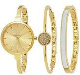 SO&CO New York Women's 5297.SET.2 Madison Quartz Gold-Tone Stainless Steel Slim Dress Watch With Two Bangle Bracelets