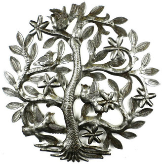 Global Crafts Tree of Life With Birds Recycled Metal Wall Art
