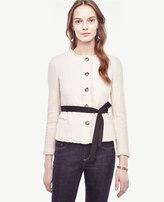 Ann Taylor Petite Belted Fringe Tweed Jacket