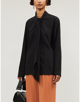 Joseph Branca round neck silk-crepe blouse