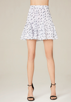 Bebe Print Godet Miniskirt