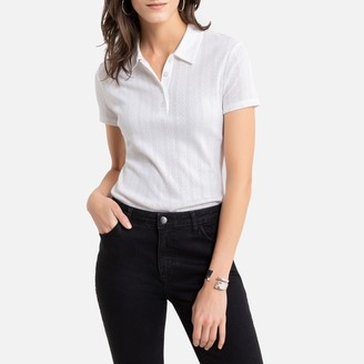 Anne Weyburn Pointelle Cotton Mix T-Shirt with Shirt-Collar