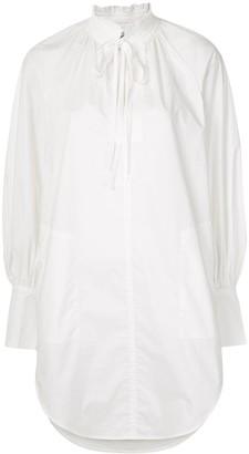 Lee Mathews Ruffle-Collar Balloon-Sleeve Shirt-Dress