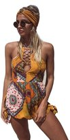 Women's shorts, Laimeng Women Bohemia Backless Casual Beach Shorts Jumpsuit Rompers Bodysuit (XL, )