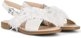 Florens TEEN feather-trim sandals