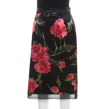 Dolce & Gabbana Only Under 40 Vintage Black Rose Printed Satin Pencil Skirt L