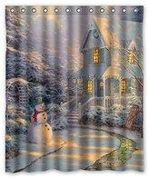 Shower Curtain Company Custom Merry Christmas Cute Snowman Waterproof Polyester Shower Curtain 60