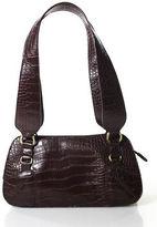 Missoni Brown Red Leather Gold Tone Detail Zipper Top Shoulder Bag Handbag