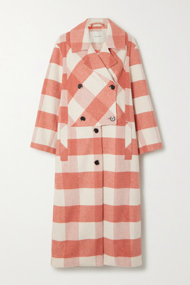 MUNTHE Excellent Double-breasted Checked Brushed-felt Coat - Pink