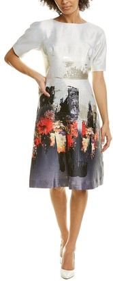 Teri Jon Border Printed A-Line Dress