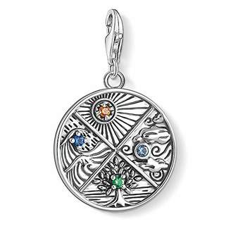Thomas Sabo Women Charm Pendant 4 Elements: Earth, Water, air, fire 925 Sterling Silver, Blackened 1814-945-7