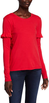 Lilla P Long-Sleeve Ruffle-Trim Tee
