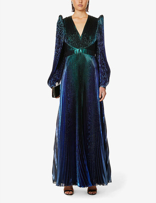 Givenchy Metallic pleated silk-blend gown