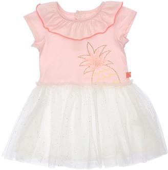 Billieblush Pineapple Print Jersey & Tulle Dress