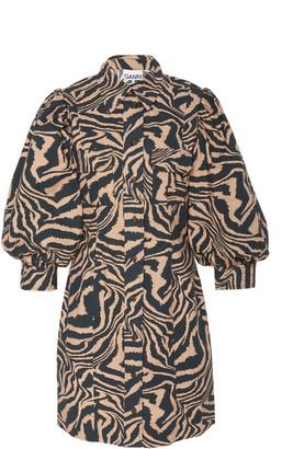Ganni Zebra-Print Poplin Mini Dress