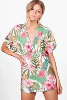 boohoo Petite Mia Tropical Print Batwing Bodycon Dress white