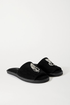 Desmond & Dempsey Embroidered Corduroy Slides - Black