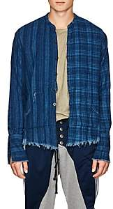 Greg Lauren Men's Checked Cotton Flannel Studio Shirt-Blue