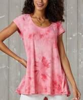 Suzanne Betro Weekend Women's Tunics 102 - Rose Tie-Dye Pleat-Back Hi-Low Tunic - Women