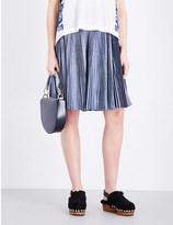 Pleated Denim Skirt - ShopStyle