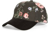 Collection XIIX Women's Flower Print Adjustable Baseball Cap - Black