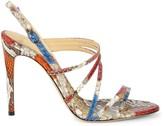 Alexandre Birman Python Leather Heeled Sandals