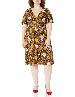 Donna Morgan Women's Plus Size Matte Jersey Floral Print Faux Wrap Dress
