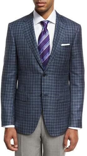 Canali Box Check Two-Button Sport Coat, Gray/Blue