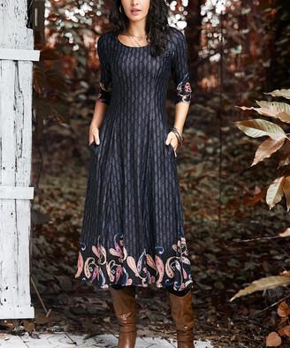 Reborn Collection Women's Maxi Dresses Black - Black & Yellow Paisley Quarter Sleeve Maxi Dress - Women & Plus