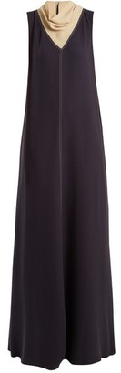 Valentino Cowl-neck Contrast-stitch Silk-cady Gown - Navy