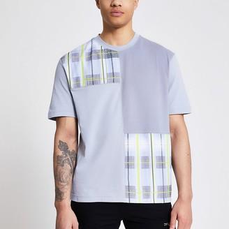 River Island Prolific grey check colour blocked T-shirt