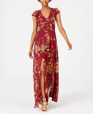 Crystal Doll Juniors' Floral-Print Maxi Dress