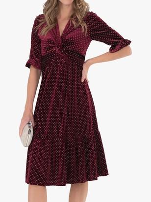 Jolie Moi Twist Velvet Spot Dress, Red