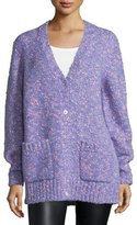 Michael Kors Button-Front Boyfriend Cardigan, Wisteria Printed