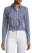 Milly Tie-Front Gingham Shirt