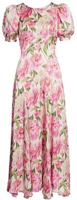 Black Iris Cassie Floral Puff-Sleeve Silk Maxi Dress