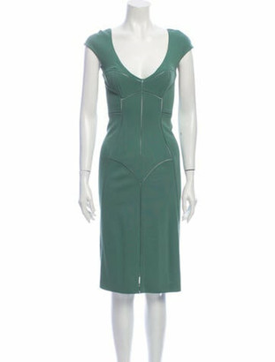 Dolce & Gabbana V-Neck Knee-Length Dress Green