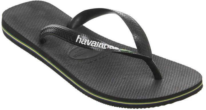Havaianas Brasil Logo Flip Flops Black