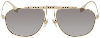 Burberry Gold Check Aviator Sunglasses