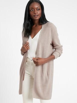 Banana Republic Washable Merino-Blend Long Cardigan Sweater